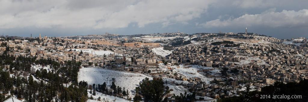 Jerusalem with Kidron and Hinnom Valleys